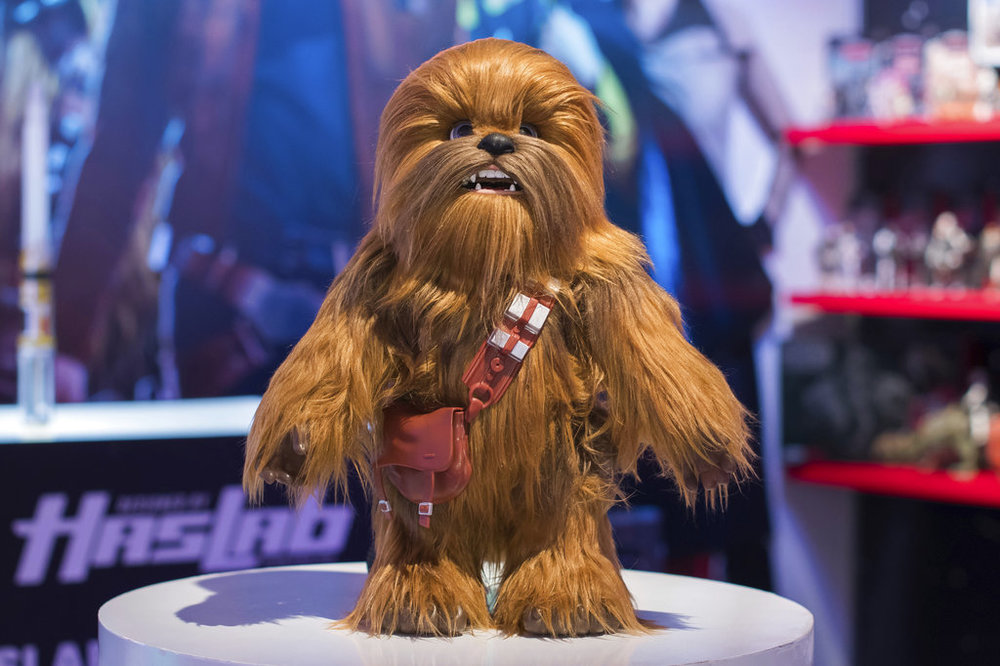 IMAGE DISTRIBUTED FOR HASBRO, INC. - Hasbro, Inc's STAR WARS ULTIMATE CO-PILOT CHEWIE (from the makers of FurReal) makes his debut at American International Toy Fair on Saturday, Feb. 17, 2018 in New York. He responds to over 100 external movements and sounds. (Photo by Charles Sykes/Invision for Hasbro, Inc./AP Images)