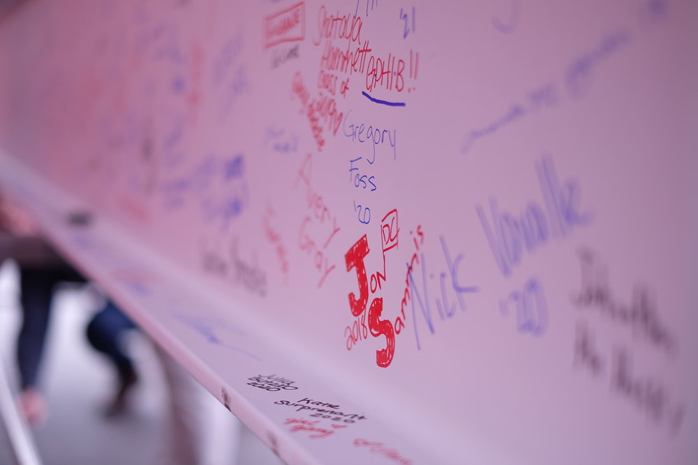 Student signatures on the last I-Beam that will be incorporated into the new Rec Center that will be completed in 2019. (Jon Sammis/The Daily Campus)