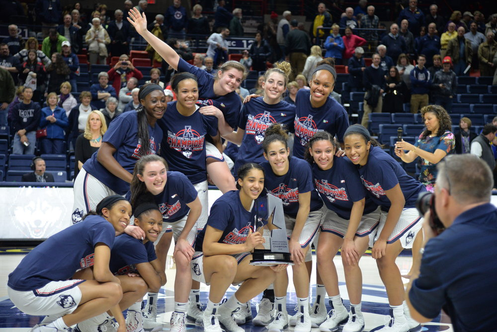 Next up, the Huskies will prepare for the American Athletic Conference tournament at Mohegan Sun, where they will have to win three games in three days to claim their fifth consecutive American conference title. (Amar Batra/The Daily Campus)