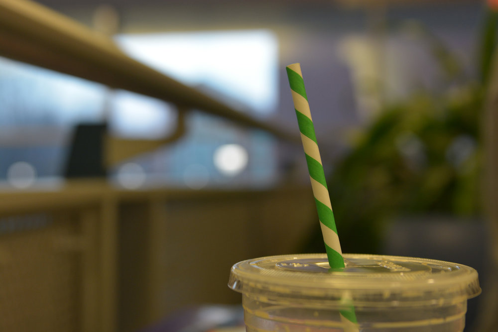 The UConn Student Union has replaced the old plastic straws with new paper ones. (Nicholas Hampton/The Daily Campus)