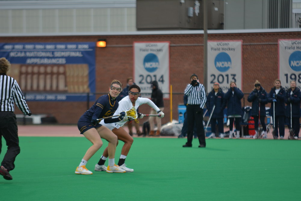 The Women's Lacrosse team comes up with a win against California 12-8 on Friday, February 23, 2018. Grace Nolan led the Huskies with 4 points. (Charlotte Lao/The Daily Campus)