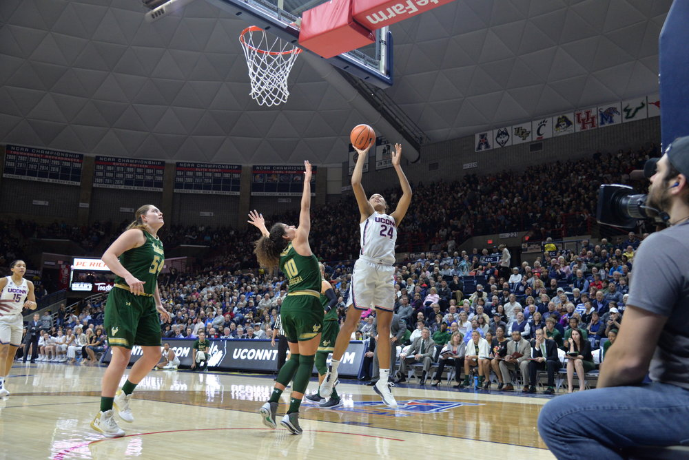 The UConn Women's Basketball team defeats USF 82-53 on Senior Night in Gampel Pavilion on Monday, Feb. 26, 2018. The graduating seniors were Forward Gabby Williams (15) and and guard Kia Nurse (11). (Amar Batra/The Daily Campus)