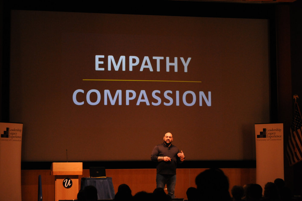 Christian Picciolini tells his life story at the Student Union Theater on Feb. 27, 2018. Picciolini is a reformed white supremacist who left the neo-Nazi movement and began a nonprofit organization for peace. (Judah Shingleton)