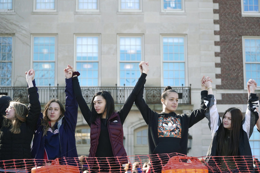 Students at Pittsfield High School demonstrate for school safety in response to the school shooting in Parkland, Fla., Tuesday, Feb. 27, 2018 in Pittsfield, MA. (Ben Garver/AP)