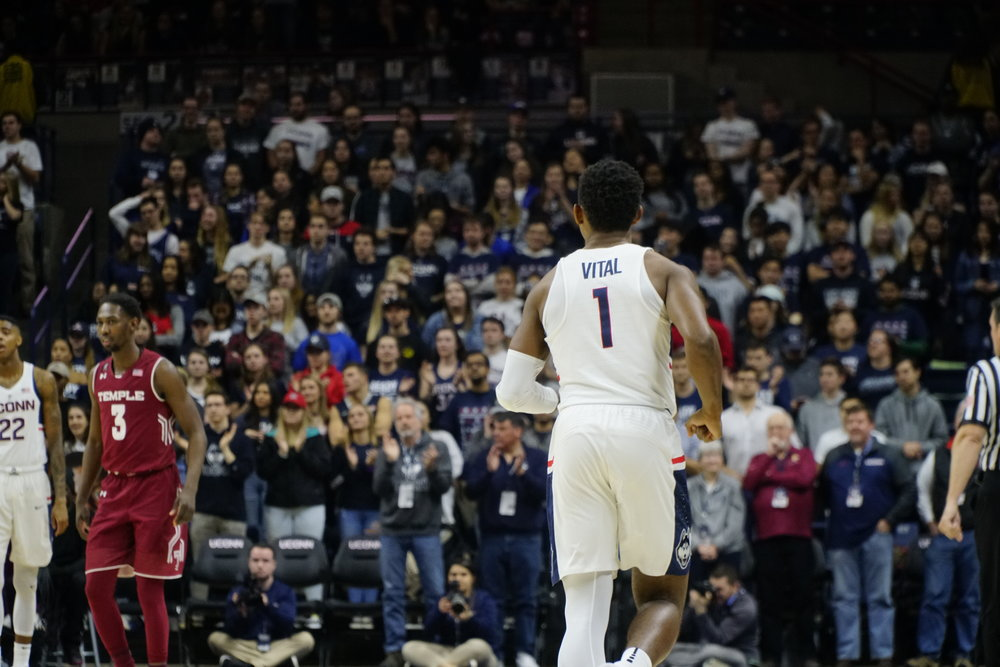 Christian Vital and the Huskies held off Temple for the final home win of the season. (Eric Wang/The Daily Campus)