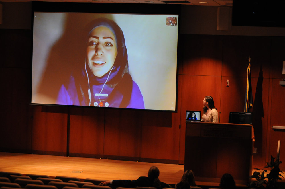 "No Lost Generation UConn hosts a screening of the documentary ""8 Borders, 8 Days"" and a discussion at the Konover Auditorium on Feb. 28, 2018. The discussion included a Q&A with Hadiya Ahmed, a woman who left Syria as a refugee. (Judah Shingleton/The Daily Campus)"