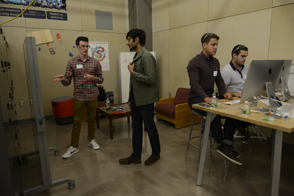 The annual HackUConn Hackathon took palce in the Next Gen hall makerspace. Student groups create presentations within a time frame of 24 hours around the topic of allergy.(Jason Jiang/The Daily Campus)