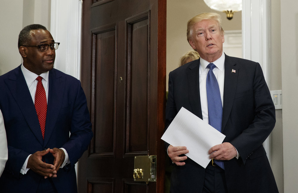 President Donald Trump arrives for an event in the Roosevelt Room of the White House in Washington, Tuesday, Feb. 27, 2018, about additional leadership in the White House Initiative on Historically Black Colleges and Universities (HBCU.) At left is Johnathan Holifield executive director of the White House Initiative on HBCUs. (AP Photo/Carolyn Kaster)