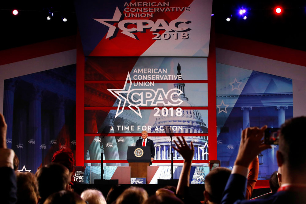 President Donald Trump speaks to the Conservative Political Action Conference (CPAC), at National Harbor, Md., Friday, Feb. 23, 2018. (AP Photo/Jacquelyn Martin)