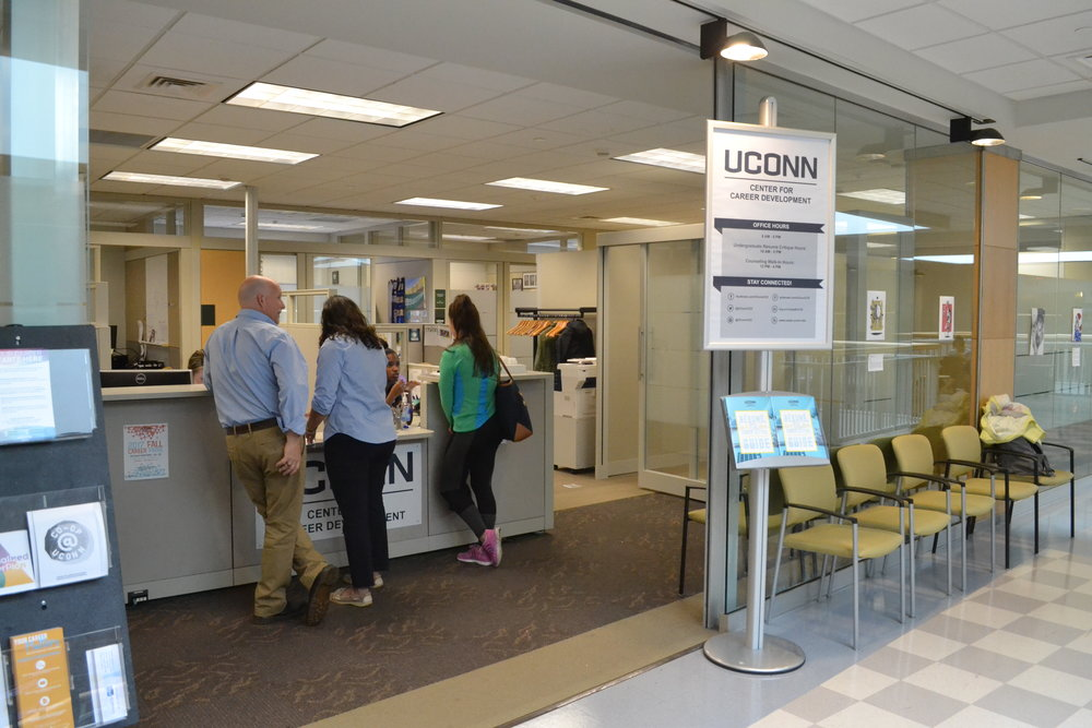 The Center for Career Development is located on the second floor of the Wilbur Cross Library. The CCD offers many resources to students looking for job opportunities, such as resume critiquing and career fairs. (Olivia Stenger/The Daily Campus)