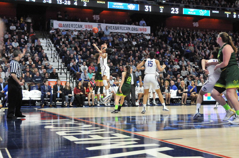 The UConn Women's basketball team defeats the USF Bulls 70-54 in the championship game of the American Athletic Conference Championship at Mohegan Sun Arena on Tuesday, March 6, 2018. Senior forward Gabby Williams led the team with 19 total points. (Amar Batra/The Daily Campus)