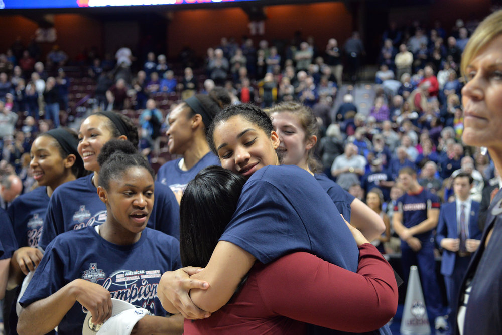 The UConn Women's basketball team is crowned the champions of the American Athletic Conference Championship tournament after defeating USF 70-54 at Mohegan Sun Arena on March 6, 2018. The Huskies will move on to the NCAA tournament undefeated for the ninth time. (Amar Batra/The Daily Campus)