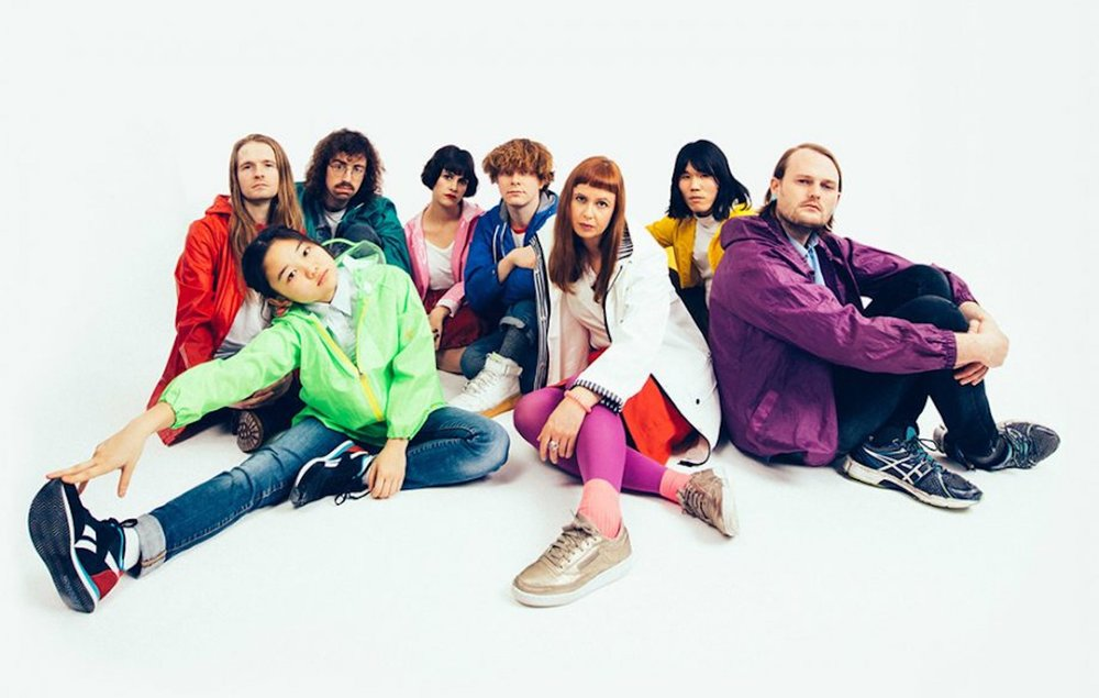 """Pictured are the eight artists of Superorganism, an indie electronic pop band led by 17-year old Orono. Their debut album, """"Superorganism"""", was just released. (Photo by Jordan Curtis Hughes)"""