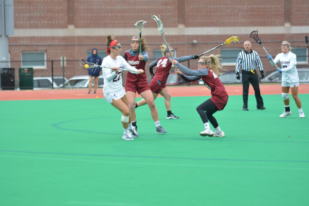 The Women's Lacrosse team lost to UMass 11-12 Saturday. The Huskies look to bounce back at the next home game on March 3 at the Sherman Family Sports Complex. (Eric Wang/The Daily Campus)