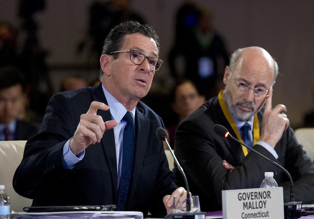 Connecticut Gov. Dannel Malloy speaks during the panel Caring for our Veterans at the National Governor Association 2018 winter meeting, on Sunday, Feb. 25, 2018, in Washington. (AP Photo/Jose Luis Magana)