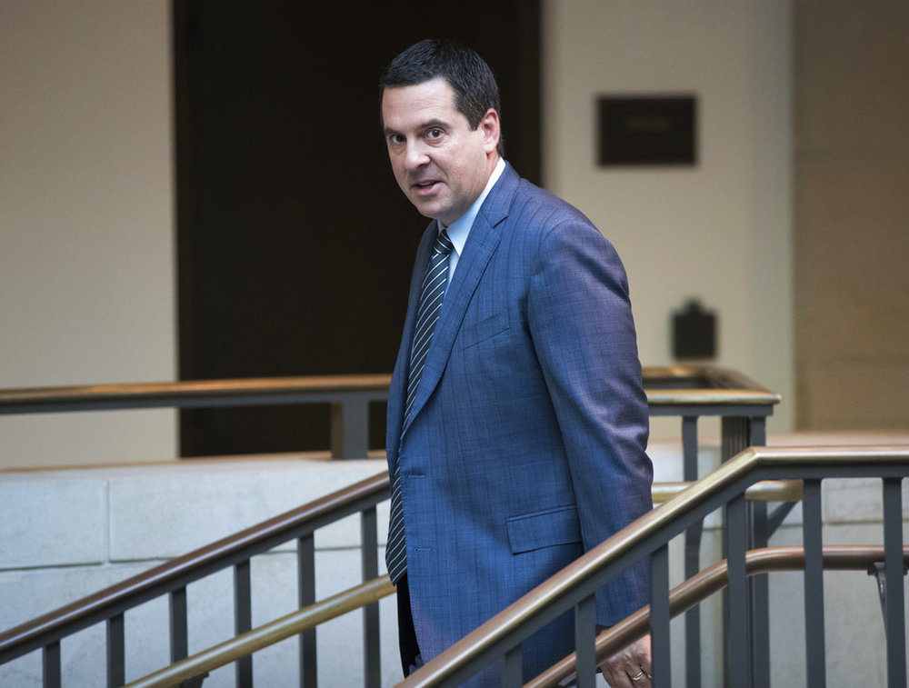 House Intelligence Committee Chairman Devin Nunes, R-Calif., a close ally of President Donald Trump, arrives at the Capitol as his panel prepares to meet with White House Communications Director Hope Hicks, one of Trump's closest aides and advisers, in Washington, Tuesday, Feb. 27, 2018. (AP Photo/J. Scott Applewhite)