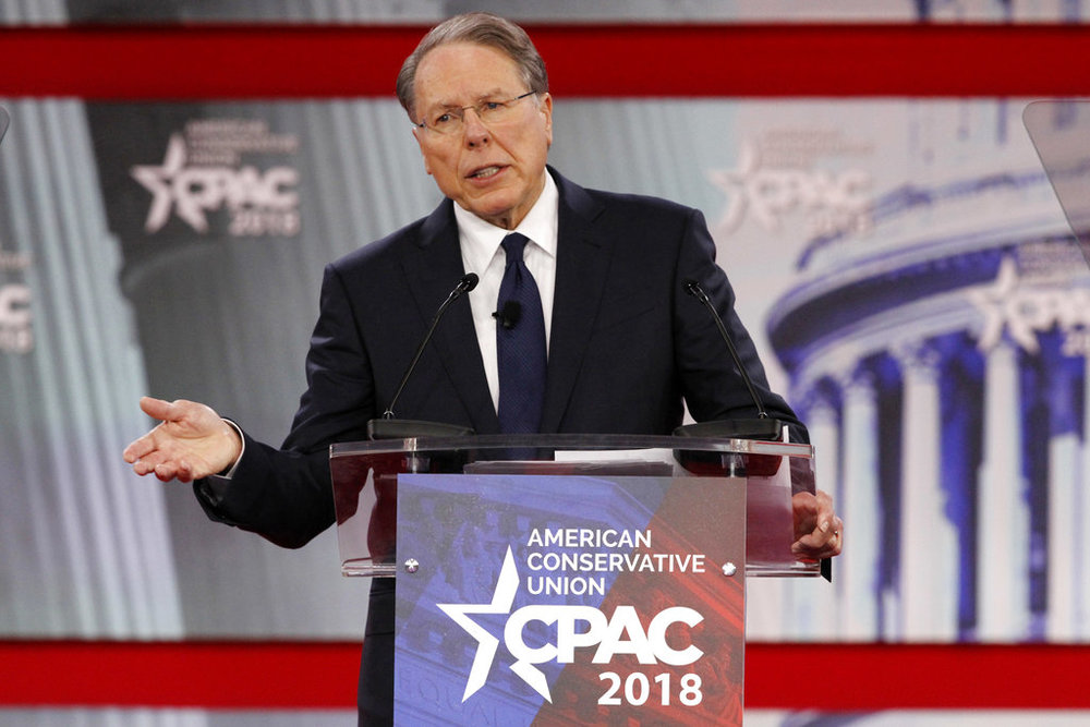 In this Thursday, Feb. 22, 2018, file photo, National Rifle Association Executive Vice President and CEO Wayne LaPierre, speaks at the Conservative Political Action Conference (CPAC), at National Harbor, Md.(AP Photo/Jacquelyn Martin, File)