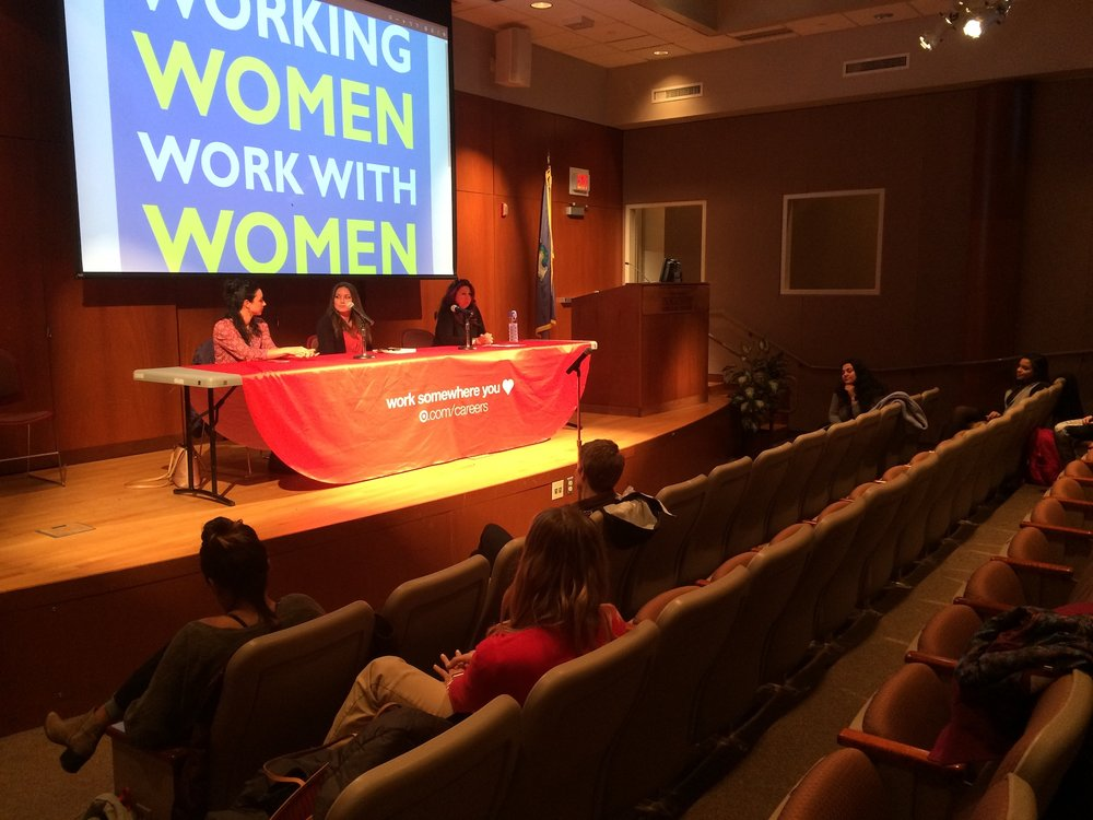 """Monday night's """"Working Women Work with Women"""" panel in Konover hosted by the Women's Center and the Center for Career Development featured three """"Working Women"""" who shared experiences over the years to better prepare young women following in their footsteps. (The Daily Campus)"""