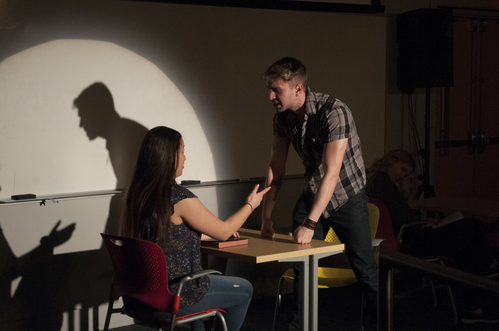 Students perform funny and dramatic '15-Minute Plays' at Shenker lecture hall on March 24, 2018. we did not have anyone take pictures from the ballard. (Judah Shingleton/The Daily Campus)