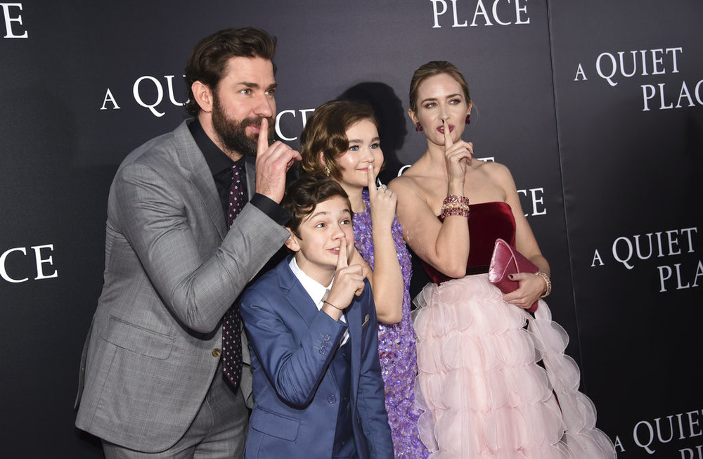 "Actor/director/writer John Krasinski, from left, Noah Jupe, Millicent Simmonds and Emily Blunt attend the premiere of ""A Quiet Place"" at AMC Loews Lincoln Square on Monday, April 2, 2018, in New York. (Photo by Evan Agostini/Invision/AP)"