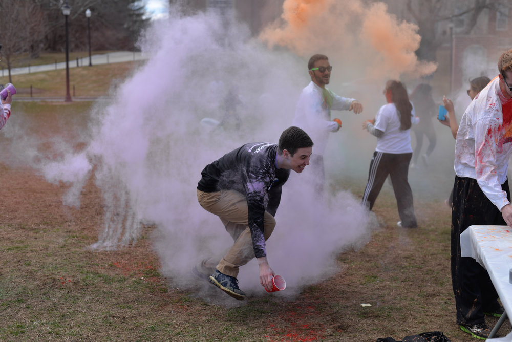 For those who don't know, Holi is an Indian festival that celebrates the return of spring and consists of a bunch of people running around throwing colored powder on each other. (Amar Batra/The Daily Campus)