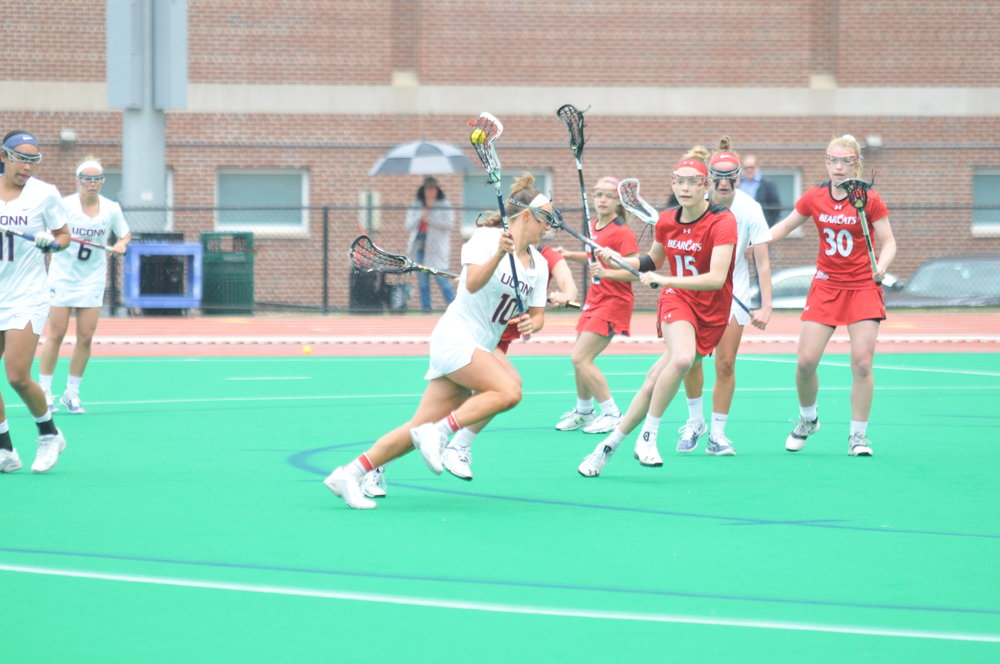 Grace Nolan, on attack here, has become the premier goal scorer in the UConn history this season (Jon Sammis/The Daily Campus)