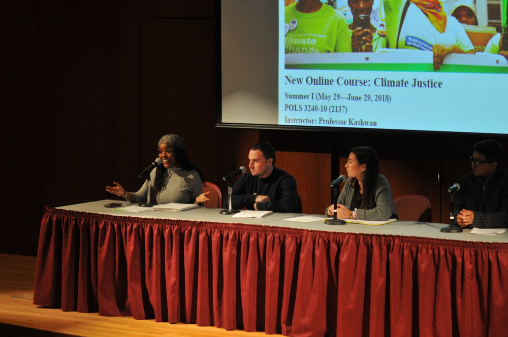 "UConn's ""Metanoia on The Environment"" events continue at the Dodd Center with a presentation by Dr. Prakash Kashwan of the political science department on April 20th, 2018. The presentation included interviews with climate justice activists from all over the globe, including Monamie Bhadra, S.P Udayakumar, Roberto Thomas, and a panel of three UConn students: Wawa Gather, Rebecca Kaufman, and Evan Fritz. (Judah Shingleton/The Daily Campus)"