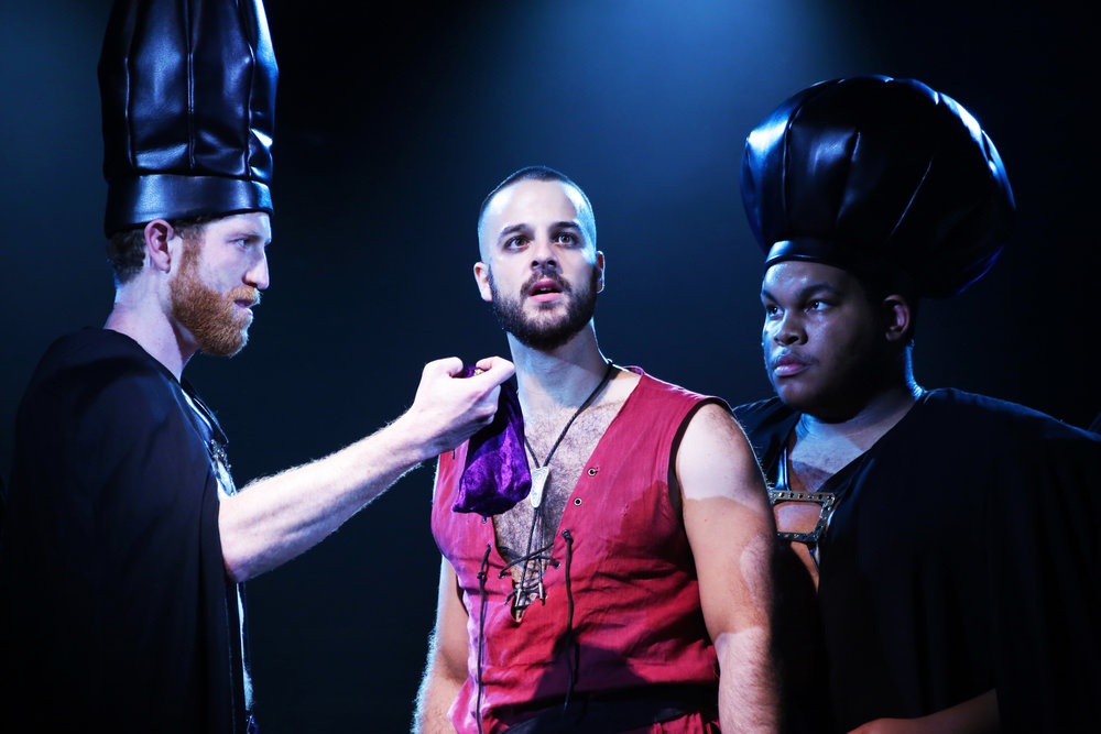 "Bryan Mittelstadt (Annas), Ryan Vona (Judas) and Tyler Grigsby (Caiaphas) in ""Jesus Christ Superstar"" by Andrew Lloyd Weber."