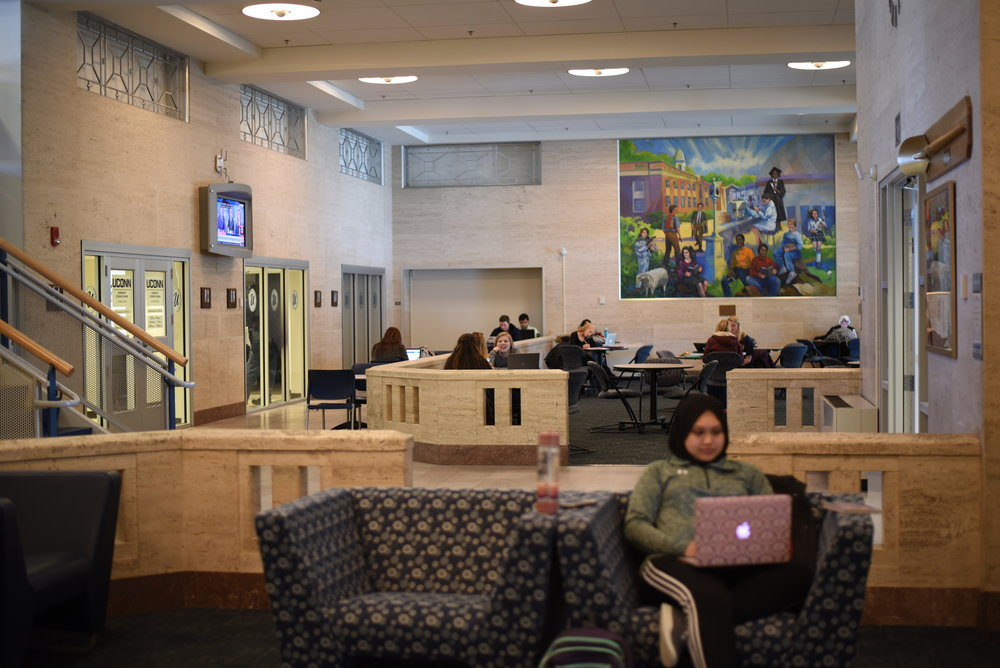 Students studying at the Union. (Charlotte Lao/The Daily Campus)