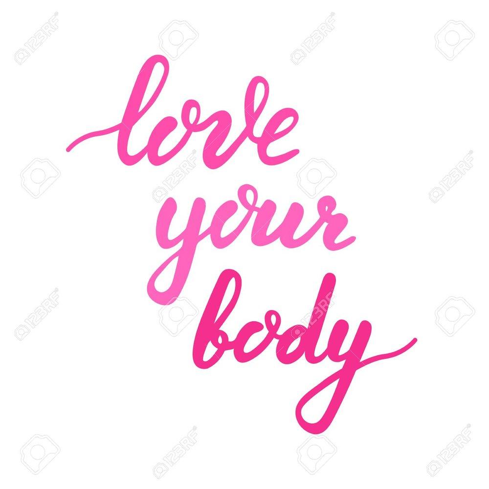 Standard-Bild - Liebe deinen Körper Schriftzug. Körper positive Zitat Kalligraphieguß