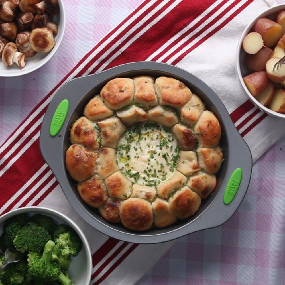 A dish of monkey bread brie fondue fresh out of the oven. (Photo courtesy of tasty.co)