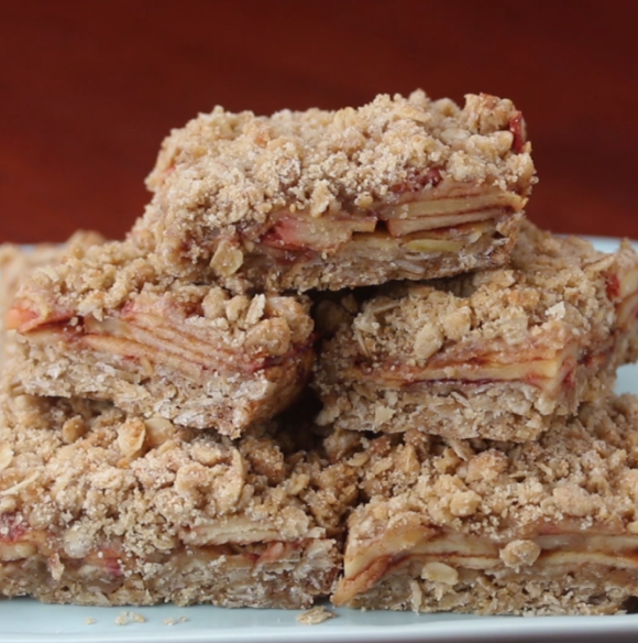 Apple cinnamon oatmeal bars are a perfect recipe to try if you want something simple to bake that's a little more creative than apple pie. (screenshot/tasty.co)
