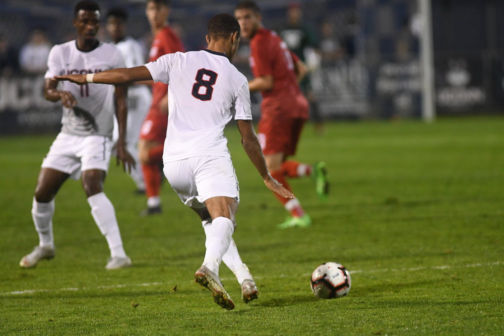 The UConn Huskies won 2-1 against Sacred Heart University on Tuesday. UConn closed the game at 88:45 with a goal by Felix Metzler (8). Their next home game is on 10/16 against Boston College. Photo by Eric Wang, Staff Photographer/The Daily Campus