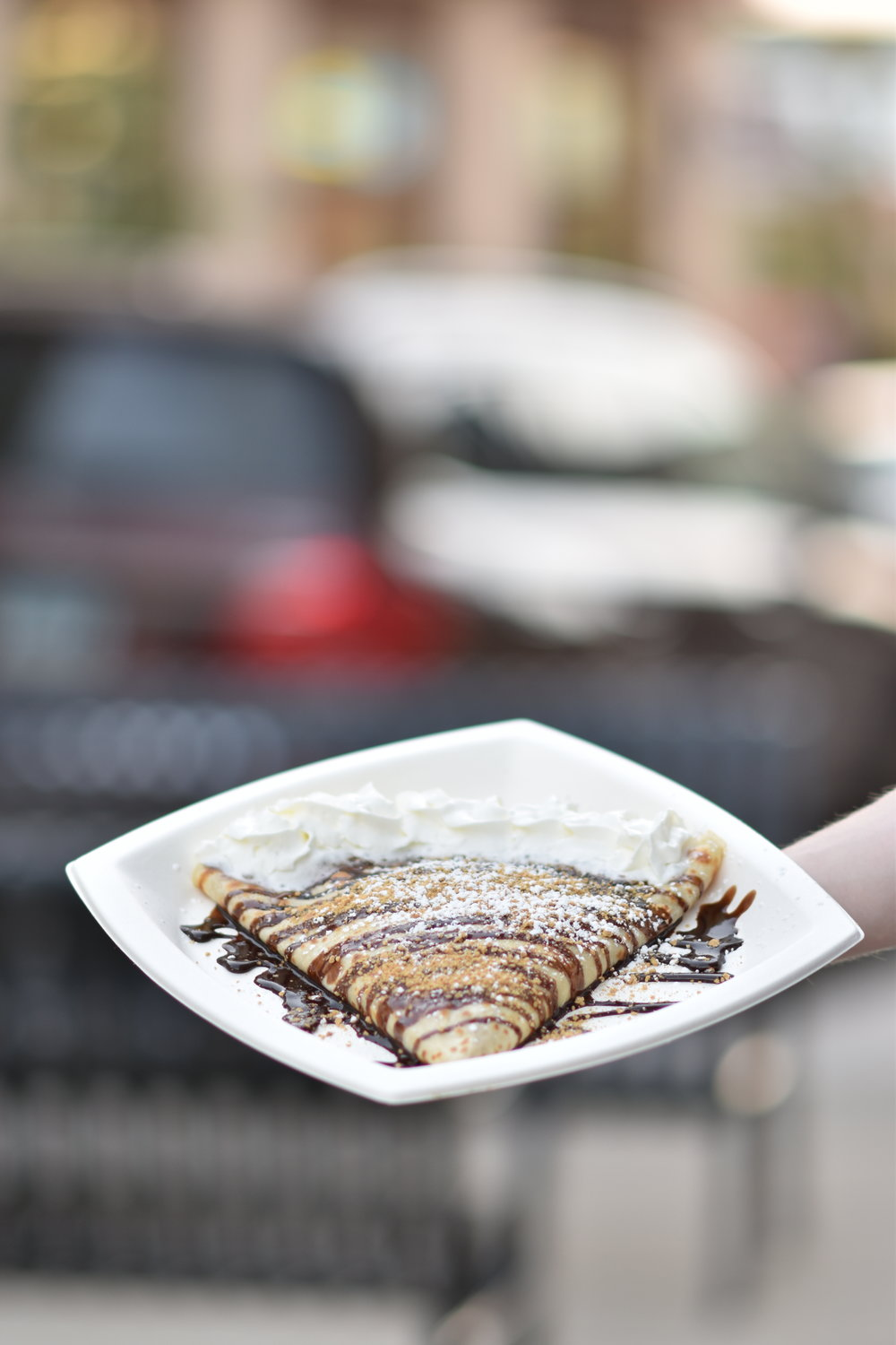 Tomorrow is the one year anniversary of the opening of Farmhouse Crepes in Storrs Center. Delicious Gluttonous Crepes are being served to content customers. (Kevin Lindstrom/The Daily Campus)