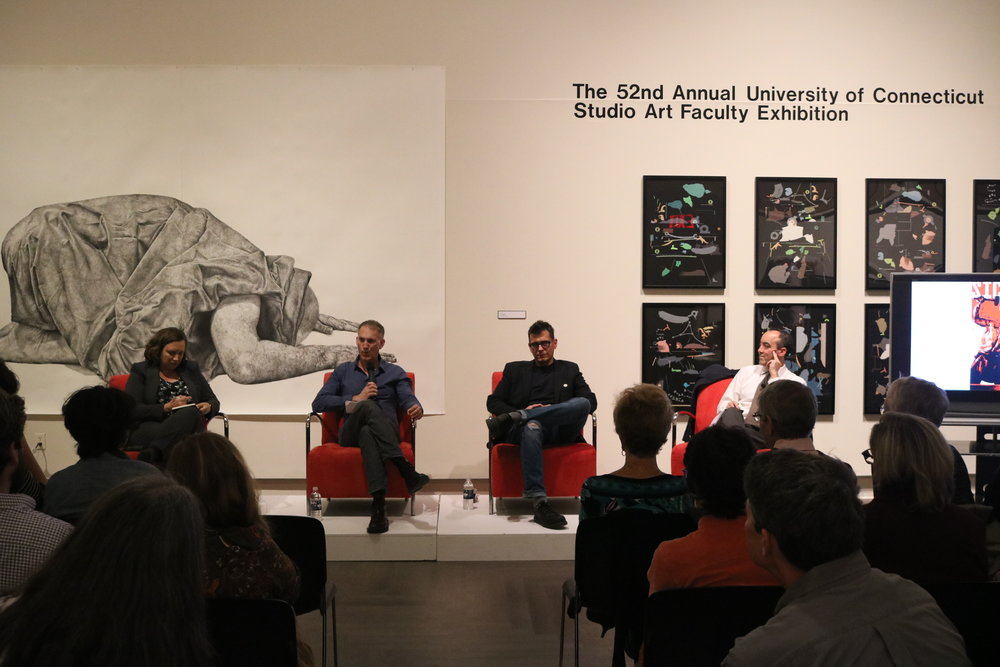 Art discussion about Dangerous Art and Censorship held at the Benton museum. The full-house audience raised several in-depth questions to the hosters. (Congyang An/The Daily Campus)