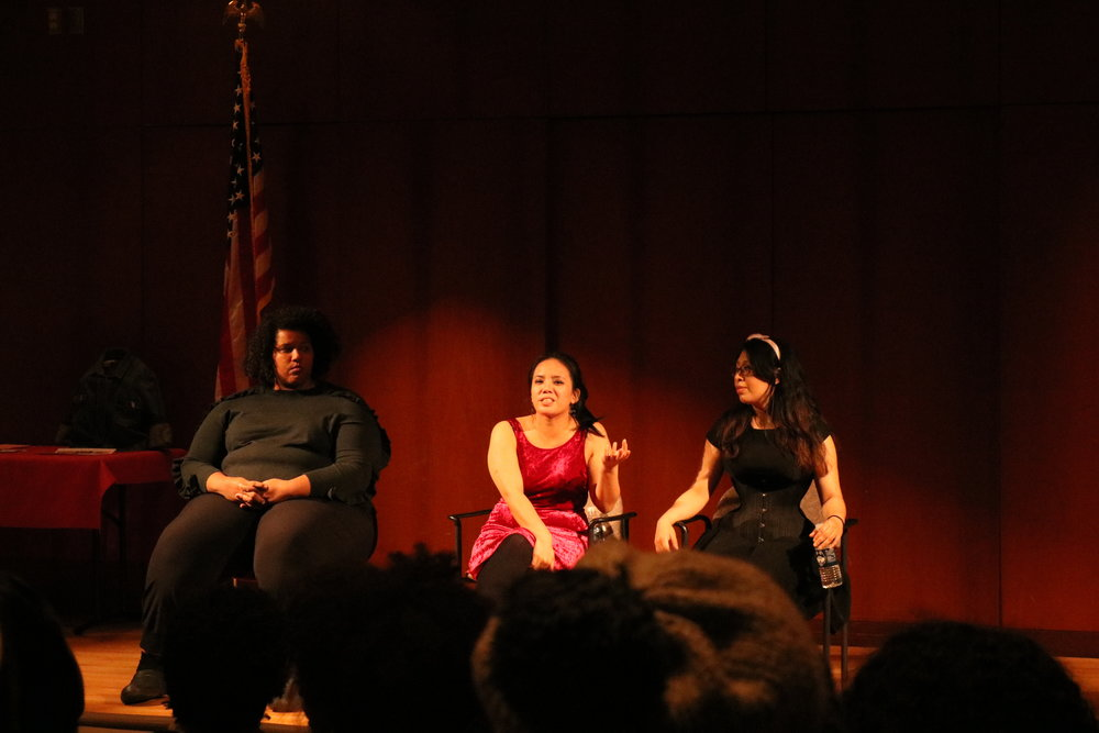 Three women from the In Full Color production performed two pieces each at the Konover Theater in the Thomas Dodds Research Center. Their pieces ranged from the acknowledgment of sexuality to the reality of hate crimes. (Vanita Patel/The Daily Campus)