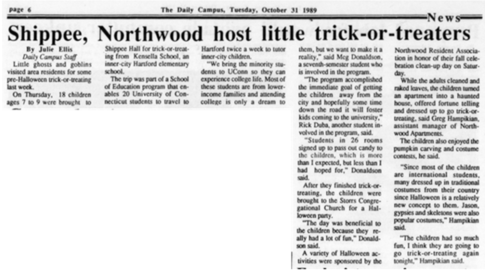 Students in Shippee and Northwood passed out candy to tick-or-treaters in 1989.