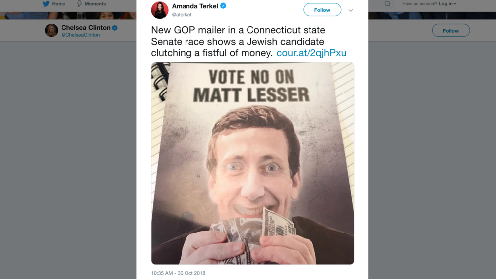 The flyer is part of the campaign for the open Senate seat representing Middletown, Wethersfield, Newington, Cromwell and Rocky Hill, according to the Courant. (Screenshot via Twitter)