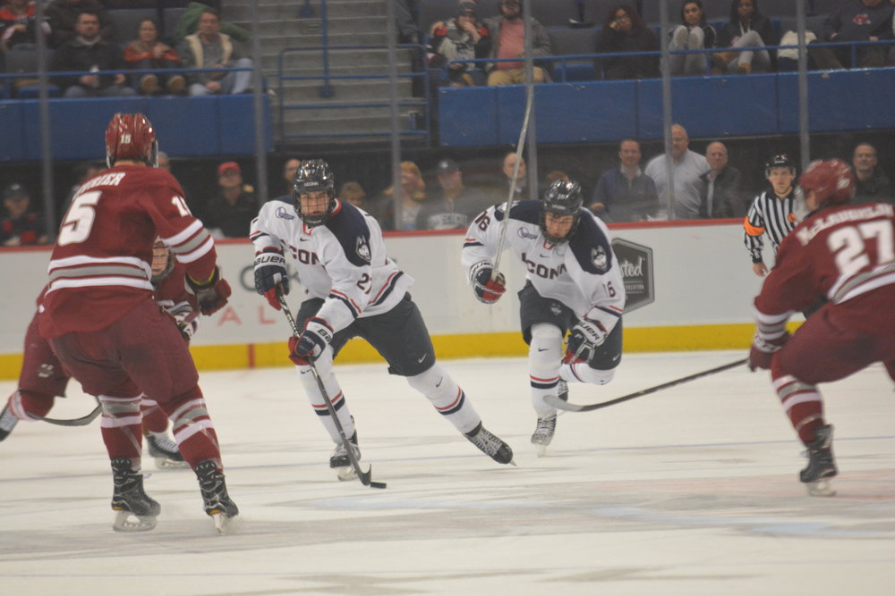 FILE- UConn brings the puck through the neutral zone during a game in the 2017-2018 season. (Nicholas Hampton/ The Daily Campus)