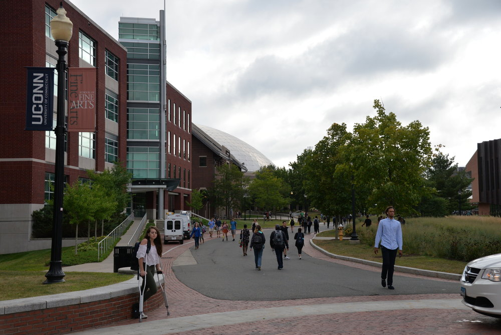Students walk down Fairfield Way utilizing the campus' main pipeline (File Photo/The Daily Campus)