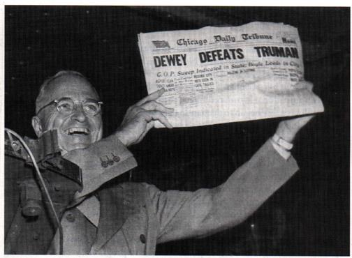 Harry Truman holds up the Chicago Tribunes initial, and incorrect, headline the night of the 1948 presidential election. (David Erickson/Flickr, Creative Commons)