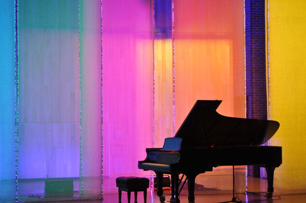 A creative project expressing how synesthetes experience objects and colors through space when hearing music, sounds and voices is presented at UConn's von der Mehden Recital Hall. (Majdolin Al Jajeh/ The Daily Campus)