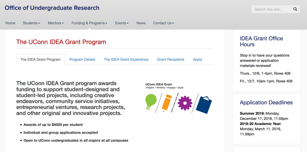 Applications for IDEA grants, a program that awards funding to support student-designed and student-led projects at the University of Connecticut are due March 11, 2019, for the 2019-2020 academic year. (Screenshot via website)