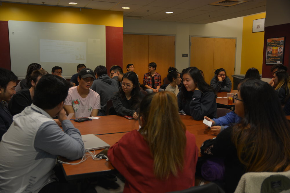 AsAAC and CUSA hosted a talk about experiences as a citizen in China. Students did an activity to understand how citizens are ranked and punished if they do not follow societal standards. (Nicholas Hampton/The Daily Campus)