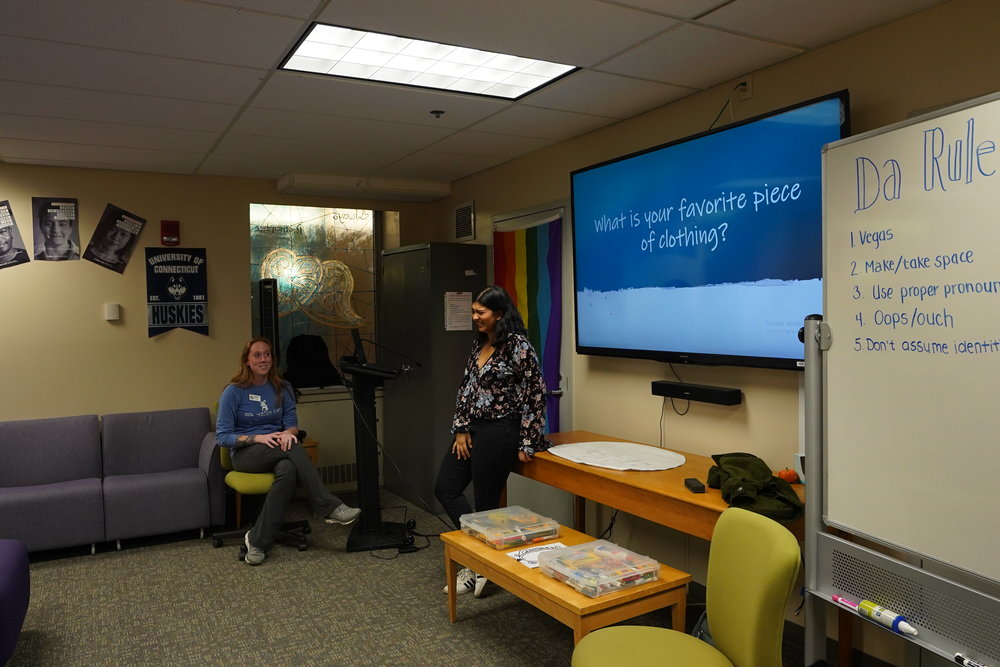 The Rainbow Center Hosted a discussion about gendered clothing, the expectations of masculinity, and how people express themselves through drag. (Photo by Eric Yang/The Daily Campus)