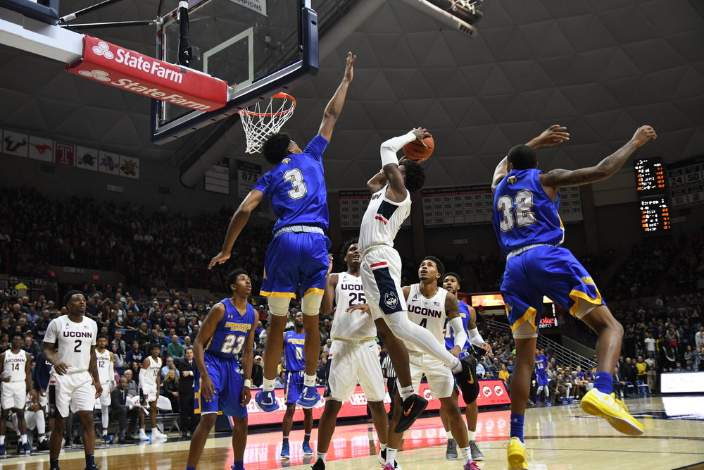 The UConn men's basketball team won 80-70 against Morehead State Thursday night in Gampel Pavilion. Their next game will be Sunday at 5:00 p.m. in Gampel against the University of Missouri-Kansas City. (Nicholas Hampton/ The Daily Campus)