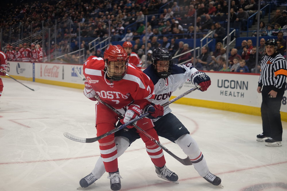 FILE- UConn, pictured here against Boston University, fell to another Boston resident this weekend, losing 3-2 to Northeastern University. (The Daily Campus)