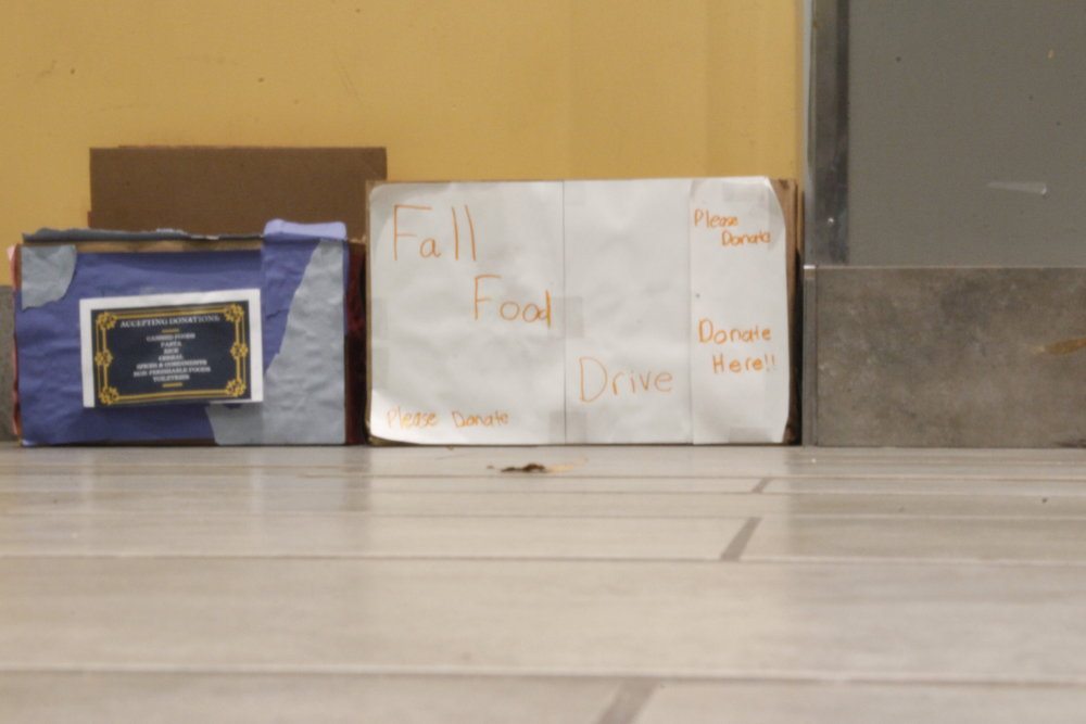 1 in 8 people go hungry every night in CT. Students can help change that by donating non-perishable items in these collection boxes around campus. (Photo by Eric Wang/The Daily Campus)