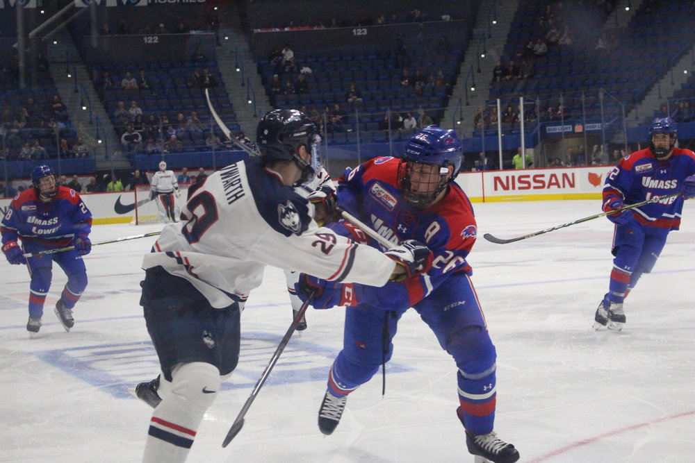 UMass-Lowell takes advantage of some UConn mistakes and escapes the XL Center with a 5-2 victory. (Bryan Lambert/ The Daily Campus)