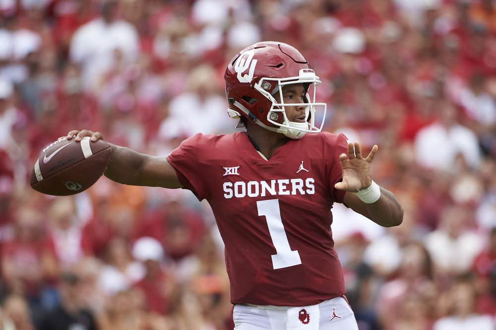 In this Oct. 6, 2018, file photo, Oklahoma quarterback Kyler Murray (1) throws a pass against Texas during the first half of an NCAA college football game at the Cotton Bowl in Dallas. (AP Photo/Cooper Neill, File)